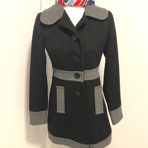 Tulle Wool Coat xsmall Button front ladies